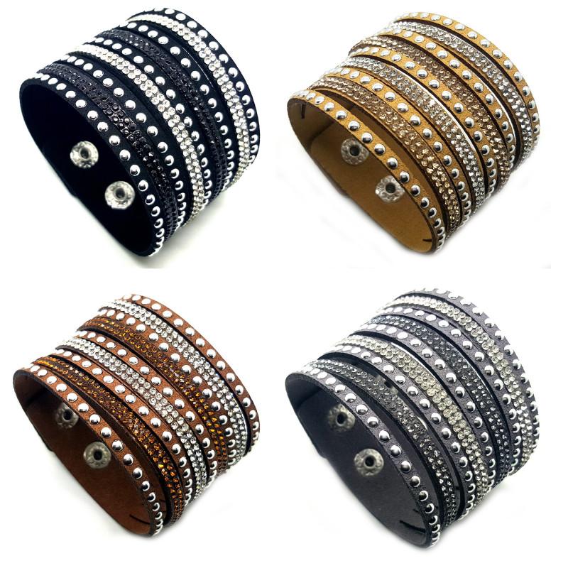BR0123 BOBIJOO Jewelry Bracelet Wrap Cuir Cristal Strass