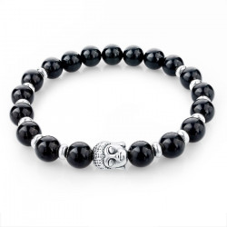 BR0043 BOBIJOO Jewelry Bracelet Stone Black Onyx Polished Head of Buddha Silver