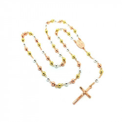 Rosary, Gold 3 Gold Cross Rose Gold