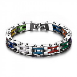 BR0135 BOBIJOO Jewelry Bracelet Chaine de Moto Acier Silicone Multicolore