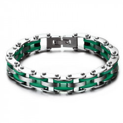 BR0141 BOBIJOO Jewelry Bracelet Chain Bike Steel Silicone Green