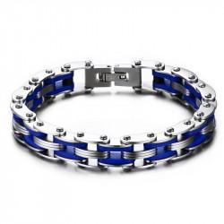 BR0142 BOBIJOO Jewelry Pulsera De Cadena De Acero De La Motocicleta De Silicona Azul