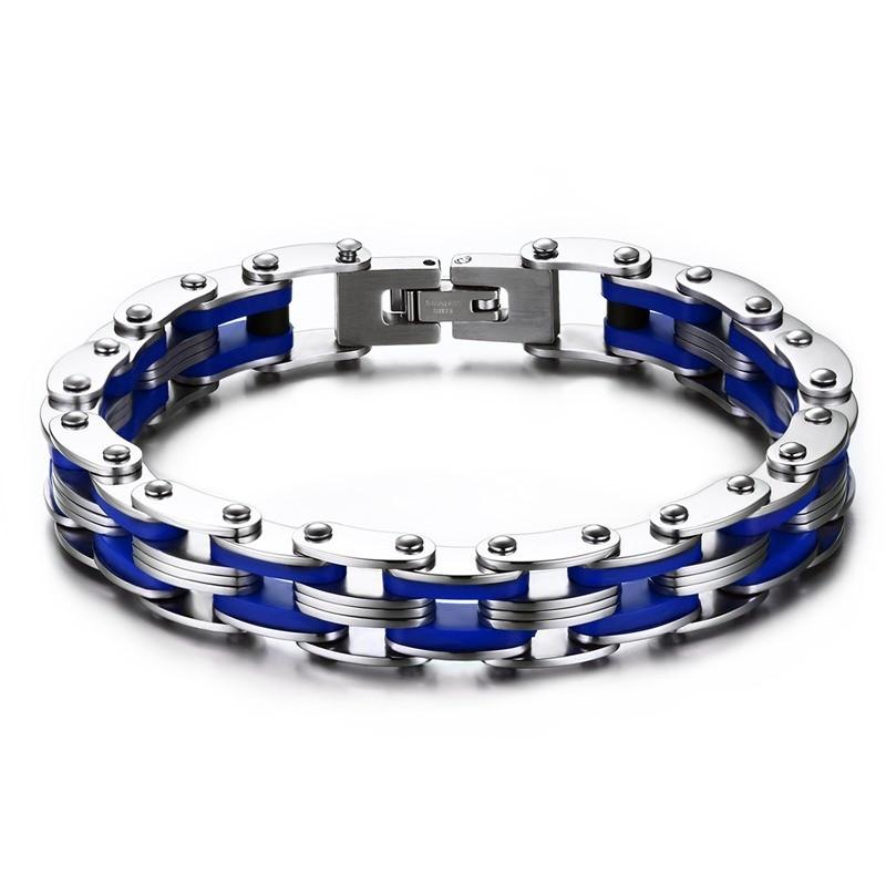 BR0142 BOBIJOO Jewelry Bracelet Chaine de Moto Acier Silicone Bleu