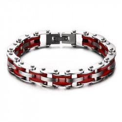 BR0143 BOBIJOO Jewelry Bracciale Catena Bici In Acciaio Silicone Rosso