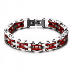 BR0143 BOBIJOO Jewelry Bracelet Chain Bike Steel Red Silicone