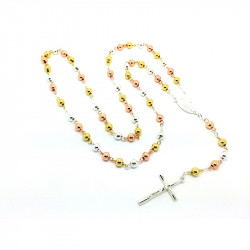 CP0009 BOBIJOO Jewelry Rosary, Gold 3 Gold Cross White Gold