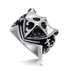 BA0028 BOBIJOO Jewelry Siegelring Ring Templer-Fleur-de-Lys-Kreuz von Malta Freimaurer Masonic