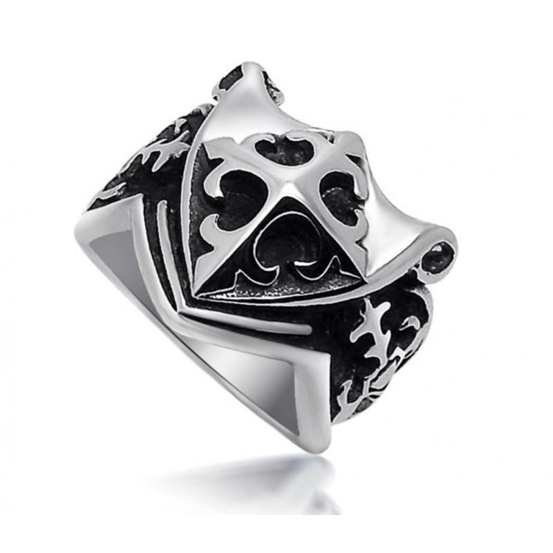 BA0028 BOBIJOO Jewelry Sortija de sello Templario Fleur-de-Lis Cruz de Malta, Frank Mason Masónica