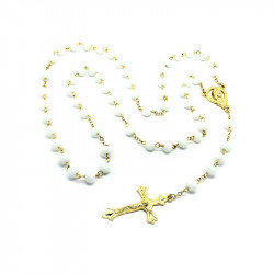 Rosary Pearly White glass Beads facet