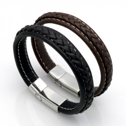 BR0151 BOBIJOO Jewelry Bracelet Braided Leather Stainless Steel Black or Brown