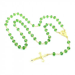 CP0012 BOBIJOO Jewelry Rosary Green glass Beads facet