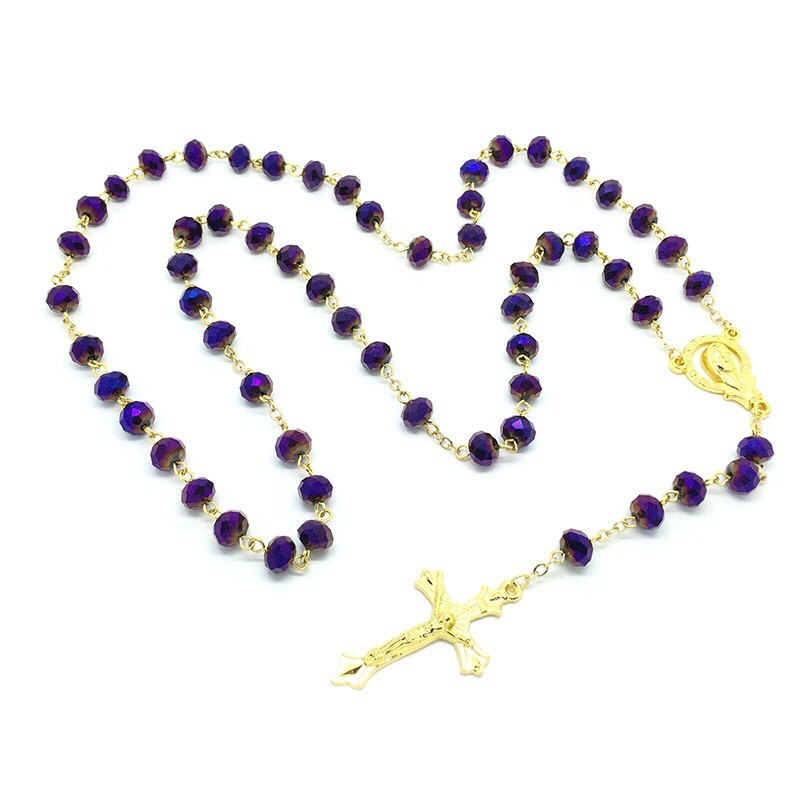 CP0013 BOBIJOO Jewelry Rosary Purple glass Beads faceted