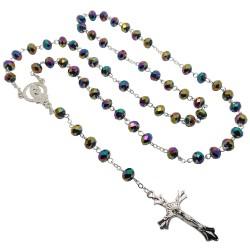 CP0028 BOBIJOO Jewelry Rosario Viola, Blu, Verde, Perle di vetro sfaccettatura