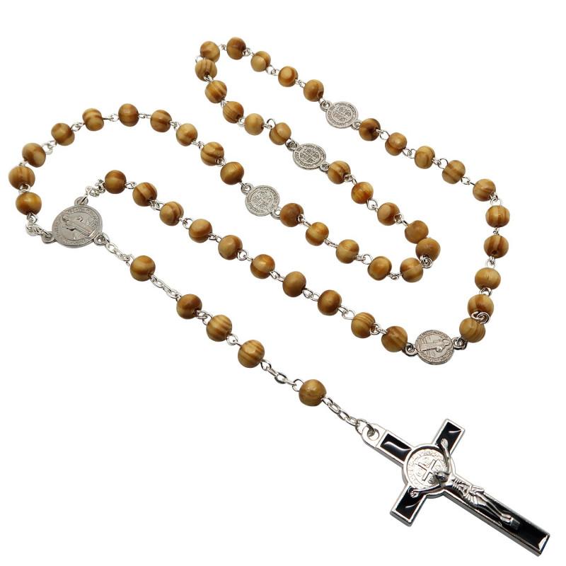 CP0031 BOBIJOO Jewelry Chapelet Catholique Bois Croix de Saint Benoît