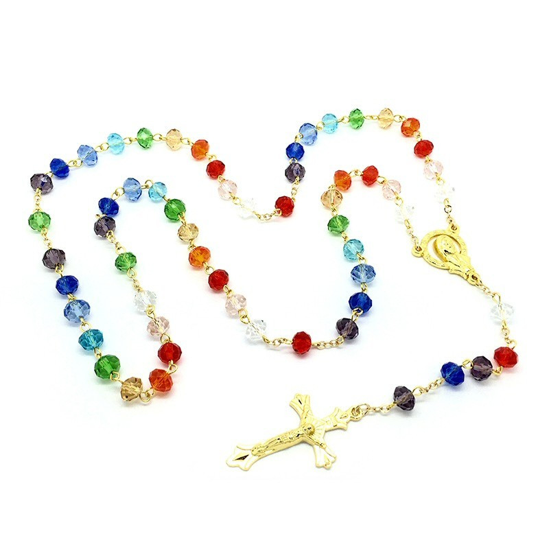 CP0014 BOBIJOO Jewelry Rosary Multicolor glass Beads faceted