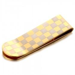 PB0012 BOBIJOO Jewelry Pince à billet Damier Acier Doré à l'Or Fin