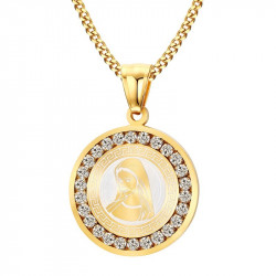 PEF0028 BOBIJOO Jewelry Pendant Medal Virgin Mary Gold Rhinestones