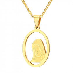PEF0029 BOBIJOO Jewelry Anhänger, Frau, Gesicht, Jungfrau Maria, Vergoldet, Gold