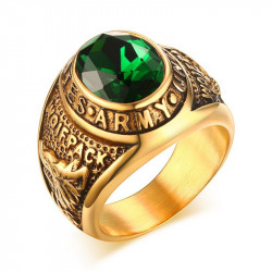 BA0136 BOBIJOO Jewelry Signet Ring Army USA Green wolfpack squad Gilt Gold End
