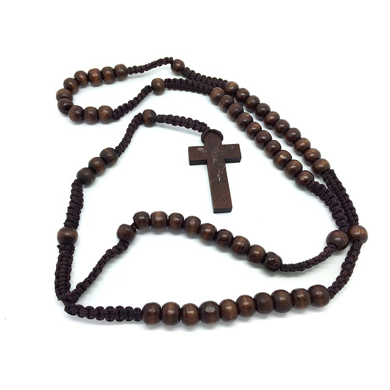 CP0017 BOBIJOO Jewelry Wooden rosary dark Brown