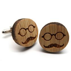 Boutons de Manchette Bois Moustache Lunettes bobijoo