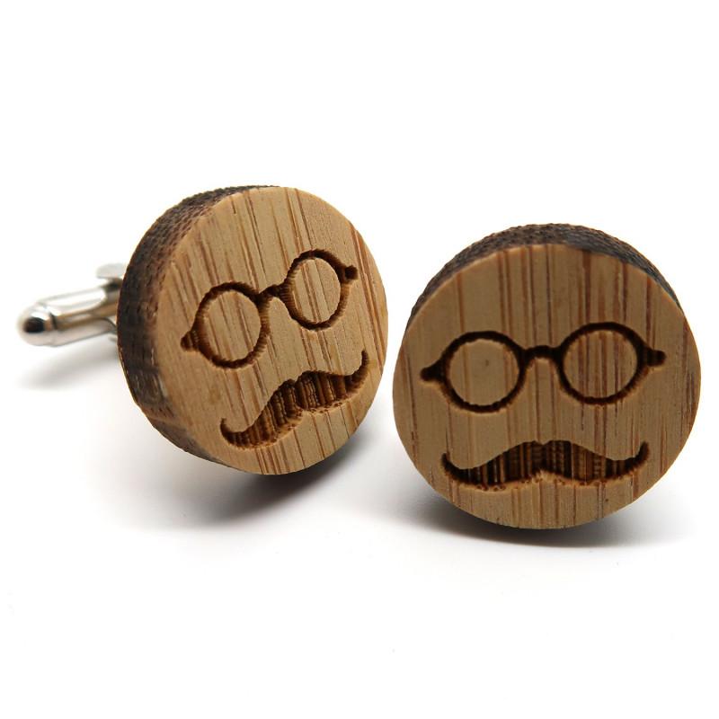 BM0019 BOBIJOO Jewelry Cufflinks Wood Mustache Glasses