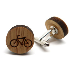 BM0020 BOBIJOO Jewelry Cufflinks Wood Bike Bobo