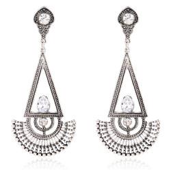 BOF0068 BOBIJOO JEWELRY Earrings Aztec Silver Metal Rhinestones Dangling