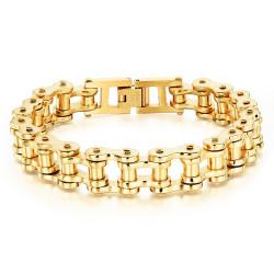 BR0100_22 BOBIJOO Jewelry Bracciale Catena bici in Acciaio Dorato finitura Oro