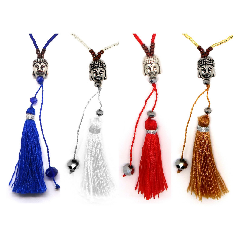 COF0028 BOBIJOO Jewelry Collier Pendentif Pompon Bali Bouddha Perles Couleurs