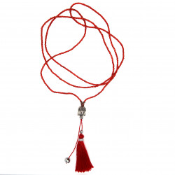 COF0029 BOBIJOO Jewelry Necklace Pendant Tassel Bali Buddha Beads Red