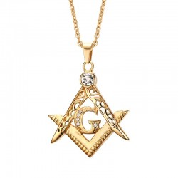 PE0051 BOBIJOO Jewelry Pendant Man Freemasonry In Gilded Gold Finish Rhinestone