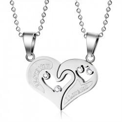 PE0053 BOBIJOO Jewelry Collier Pendentif Couple Coeur Séparable I Love You Acier Argenté