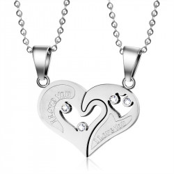 PE0053 BOBIJOO Jewelry Necklace Pendant Couple Heart Split I Love You Steel, Silver