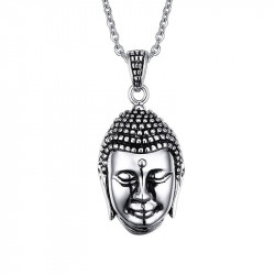 PE0056 BOBIJOO Jewelry Colgante Cabeza de Buda Bali Asia Acero Inoxidable
