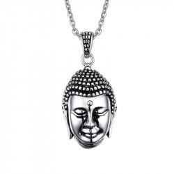 PE0056 BOBIJOO Jewelry Pendentif Tête de Bouddha Bali Asie Acier Inoxydable