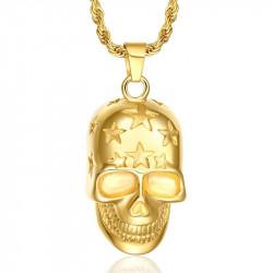 PE0057 BOBIJOO Jewelry Pendant skull Etoilée, Gold + Chain