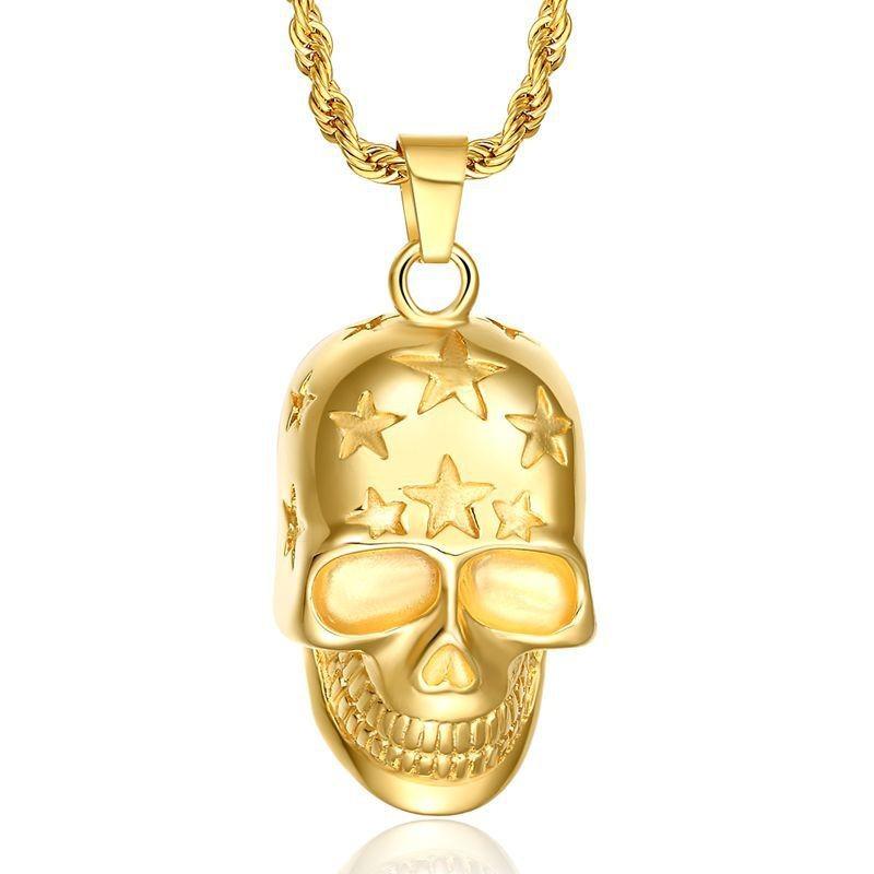 PE0057 BOBIJOO Jewelry Pendentif Tête de Mort Etoilée Doré à l'Or Fin + Chaîne