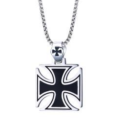 PE0062 BOBIJOO Jewelry Pendentif Croix Pattée Noire Maltese Biker Chaîne