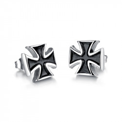 BOF0072 BOBIJOO JEWELRY Earrings Black Cross Pattee Black