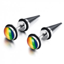 BOF0073 BOBIJOO JEWELRY Earrings GayPride Cone Arc-en-Ciel Steel Screws