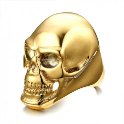 BA0139 BOBIJOO Jewelry Anello con sigillo, una Testa di Morte Dorato finitura Oro Acciaio