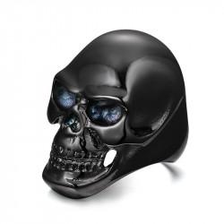 BA0141 BOBIJOO Jewelry Chevalière Bague Tête de Mort Noir Acier
