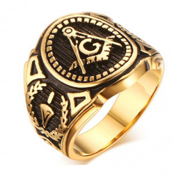 BA0142 BOBIJOO Jewelry Chevalière Bague Franc-Maçonnerie Doré Or Fin Noir