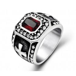 BA0143 BOBIJOO Jewelry Chevalière Bague Croix des Templiers Pierre Rouge Strass