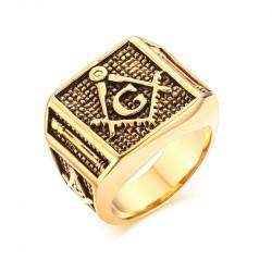 BA0146 BOBIJOO Jewelry Chevalière Bague Franc-Maçonnerie Colonnes Doré Or Fin G