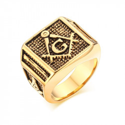 BA0146 BOBIJOO Jewelry Signet Ring Freemasonry Columns, Gilded Gold Finish G