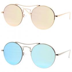 LU0024 BOBIJOO Jewelry Sonnenbrille mit Metall-Runde-Rosa-Blau