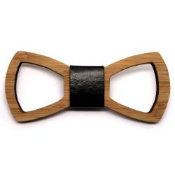 NP0007 BOBIJOO Jewelry Madera de bambú calada de corbatín clásico