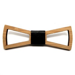 NP0006 BOBIJOO Jewelry Bow tie traforata in legno di bambù Design rettangolo